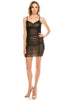 Women's Spaghetti Straps V Neck Mesh Shirred Ruched Bodycon Cocktail Dress