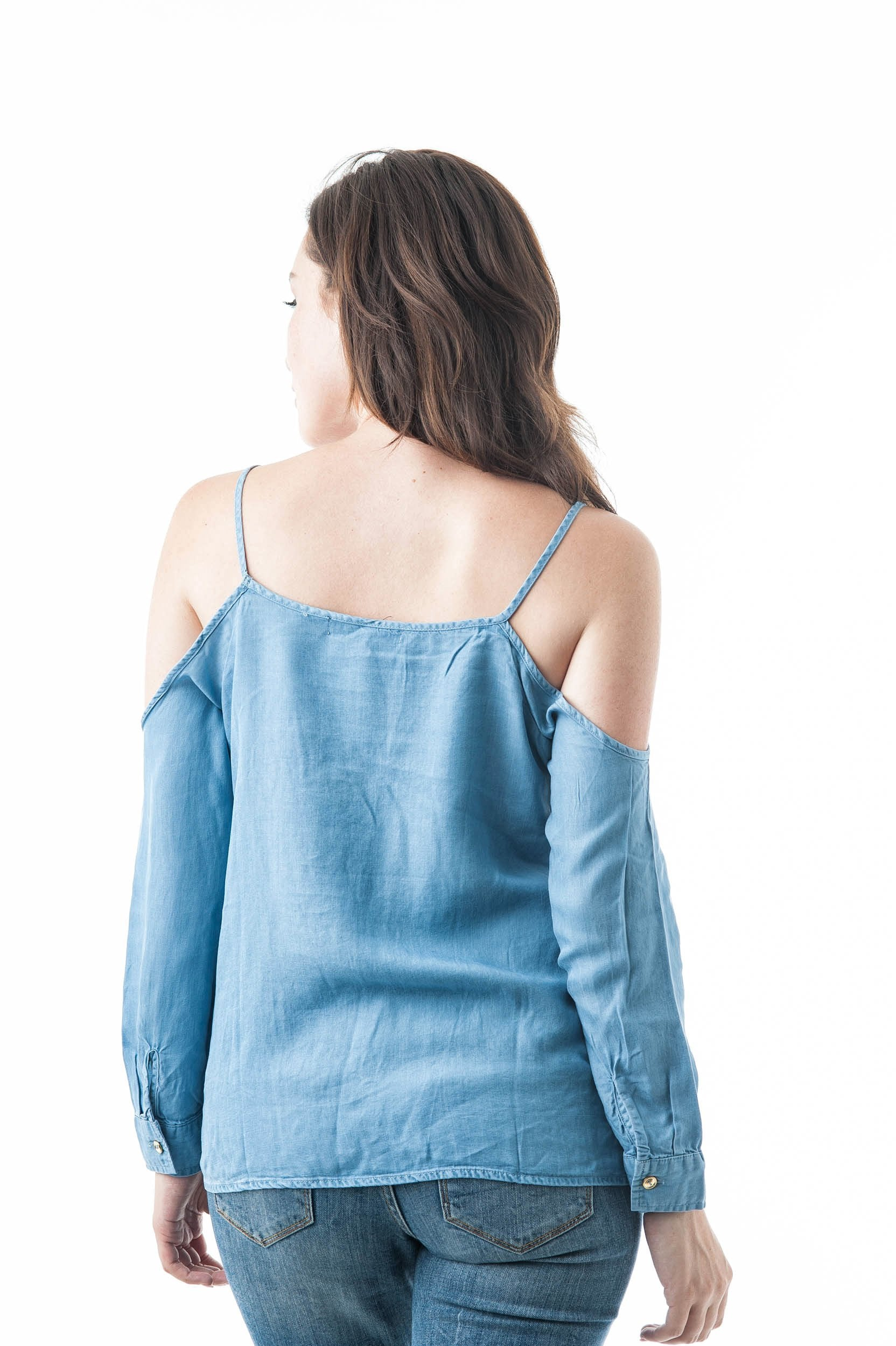 Open Cold Shoulder Chambray Cami Strap Long Sleeve Top