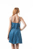 Adjustable Cami Strap V Neck Chambray With Side Self-Tie Fabric Belt Mini Dress