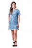 Short Sleeve Denim Frayed Cotton Scoop Neck Side Pockets Bodycon Dress