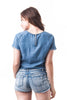 Short Sleeve Chambray Frayed Denim Cropped Top