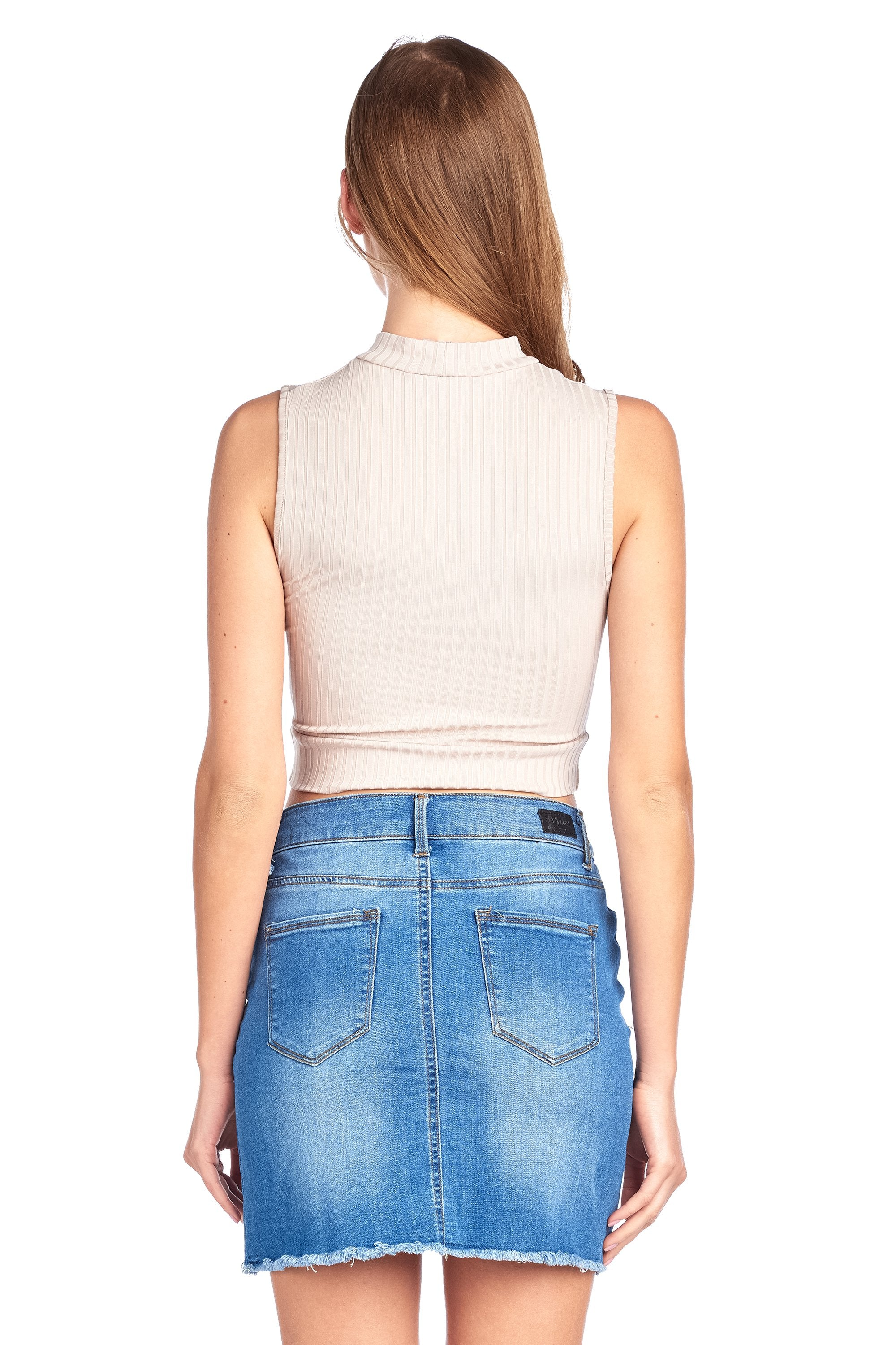 Sleeveless Ribbed Twist Front Mock Neck Fitted Stretch Crop Tank Top