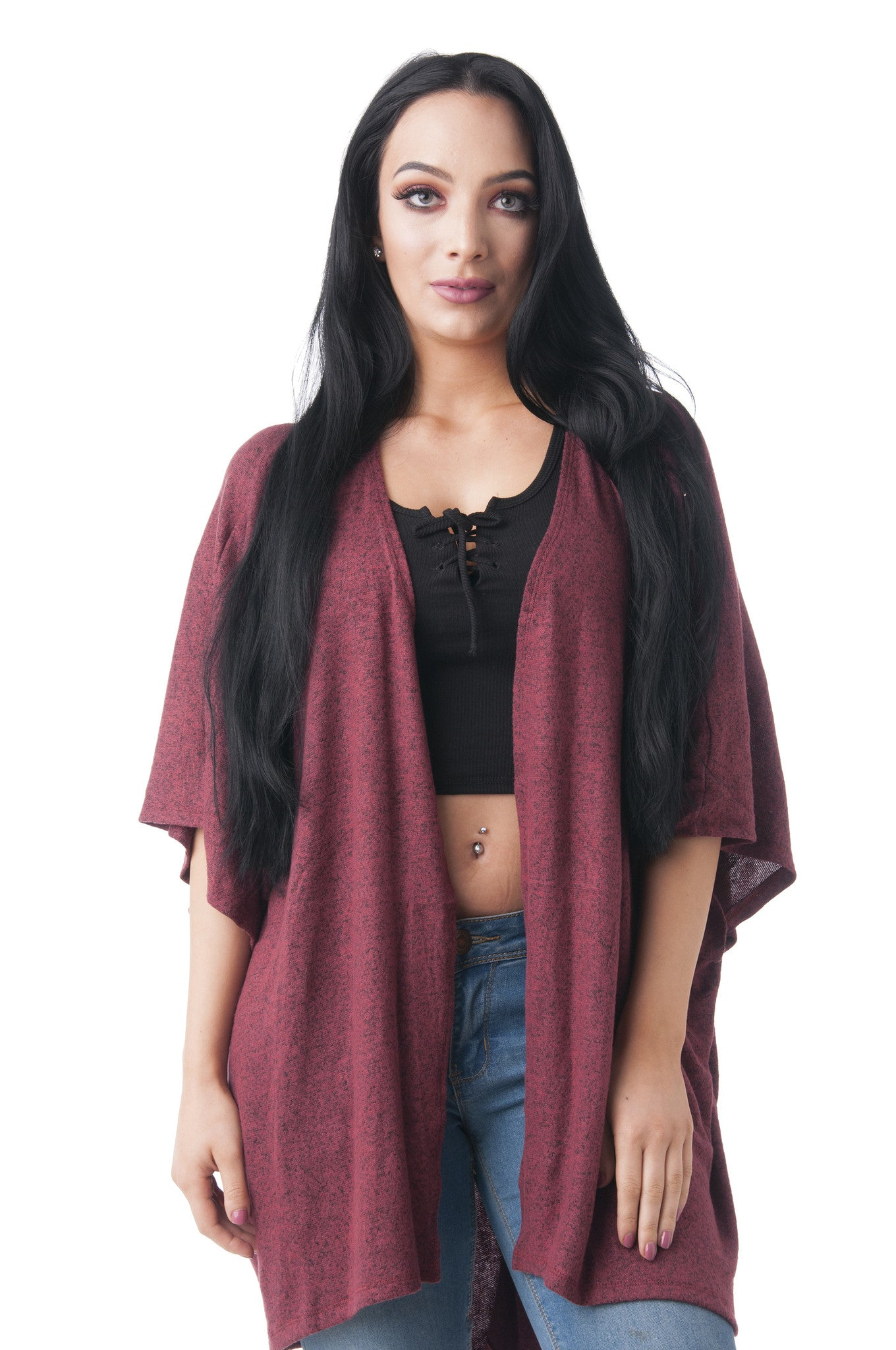 Brushed Fabric Long Half Sleeve Cardigan