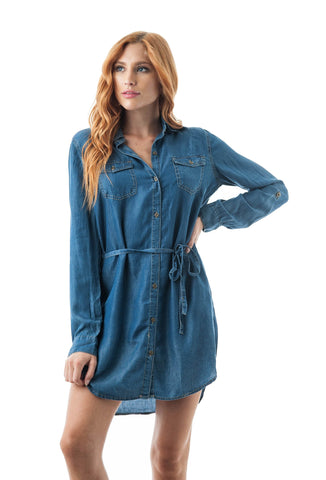 Button Down Chambray Self-Tie Belt Long Sleeve Basic Collar Dress
