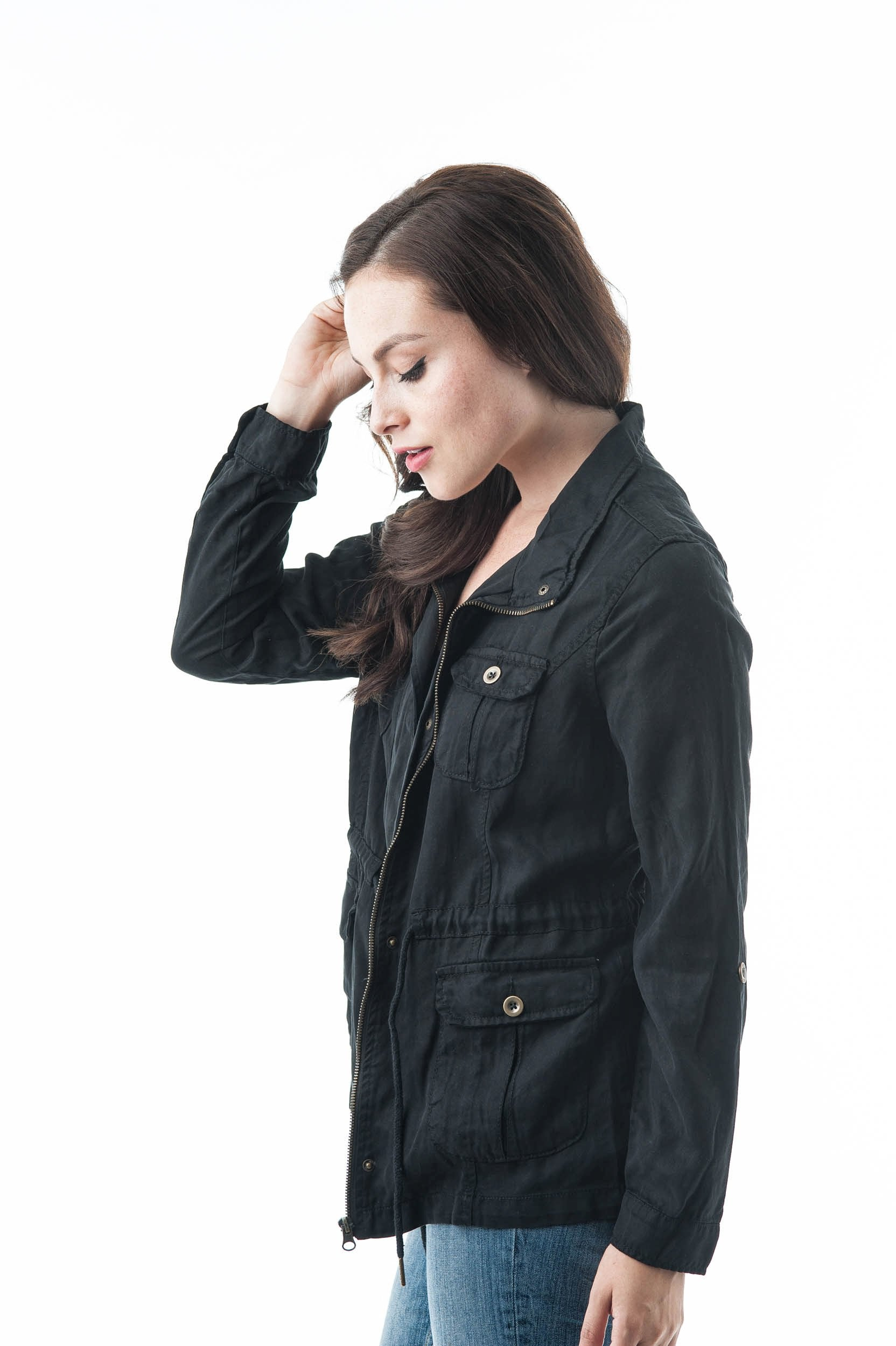 lightweight Tencel Utility Jacket With 4 Front Pockets And Self-Tie Drawstring Waist
