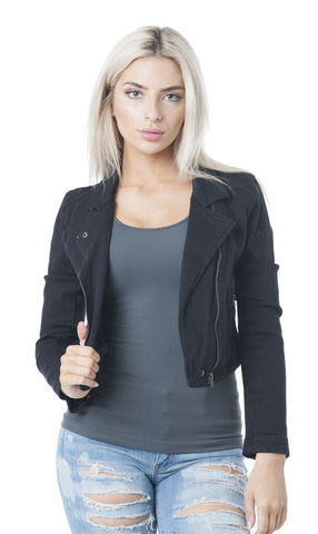 Denim Asymmetrical Moto Ziped-Up Jacket