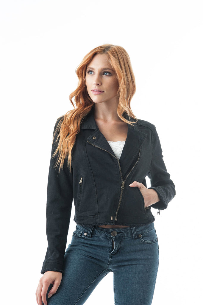 Denim Asymmetrical Moto Zip Up Fray Hem Jacket