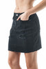 Black Denim Distressed Skirt With Shadow Hemline