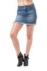 Lace Up Side Detail Fray Hem Mini Denim Skirt