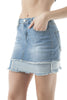 Denim Distressed Jean Double Fray Panel Mini Skirt