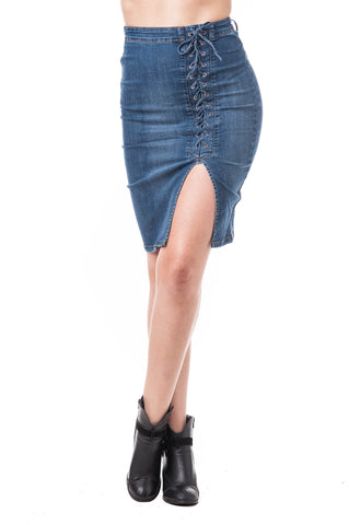 Denim High Waisted Pencil Lace Up Leg Slit Skirt