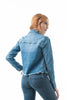 Denim Jean Fray Hemline Front Pockets Lace Up Side Jacket
