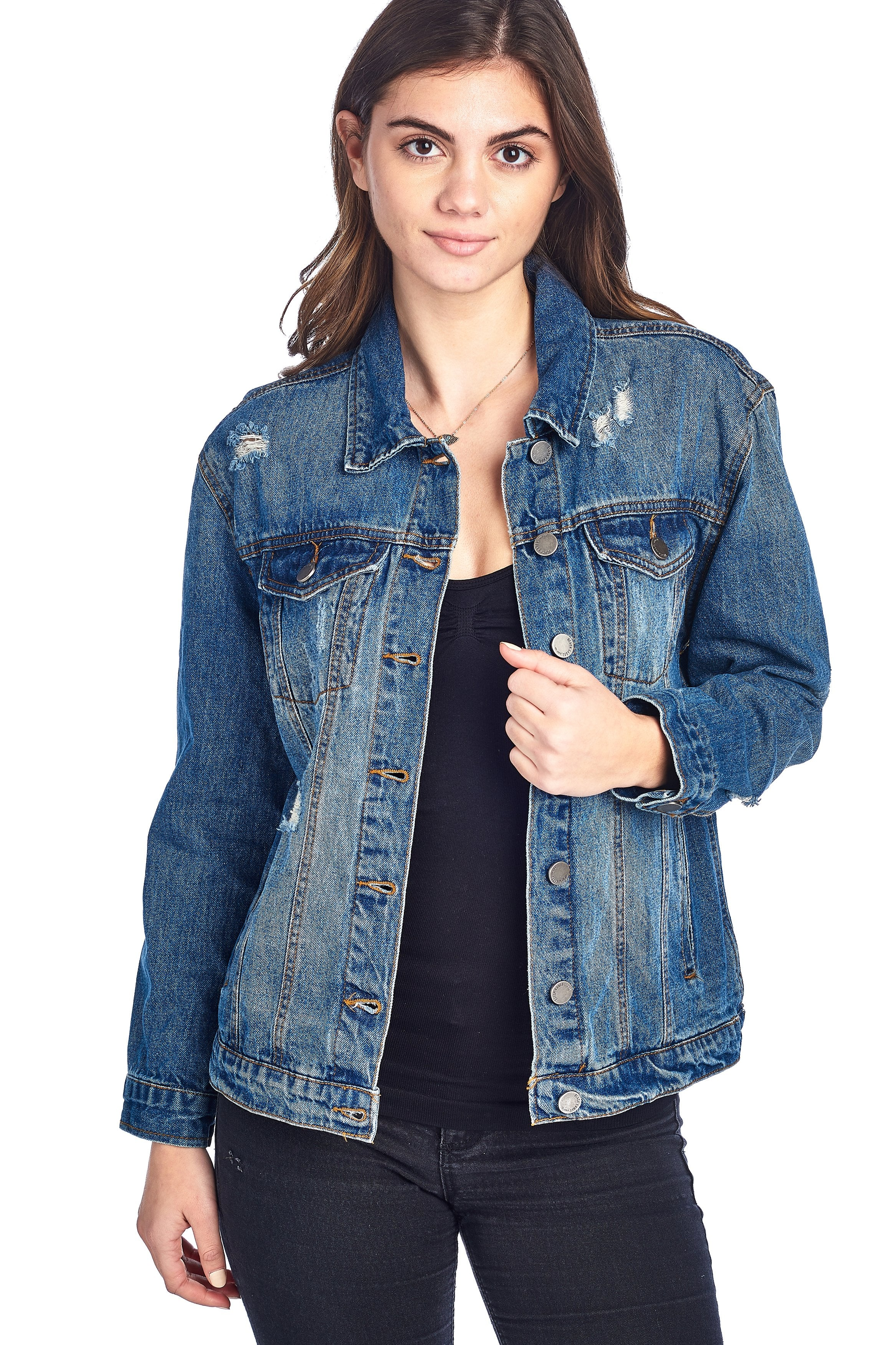 Classic Long Jean Distress Oversized Denim Basic Collar Button Front Jacket