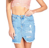 Classic Denim Jean Casual Basic Distress Frayed Asymmetrical Hem Mini Skirt