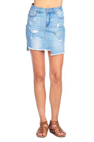 Classic Denim Jean Casual Basic Distress Frayed High Low Hem Mini Skirt
