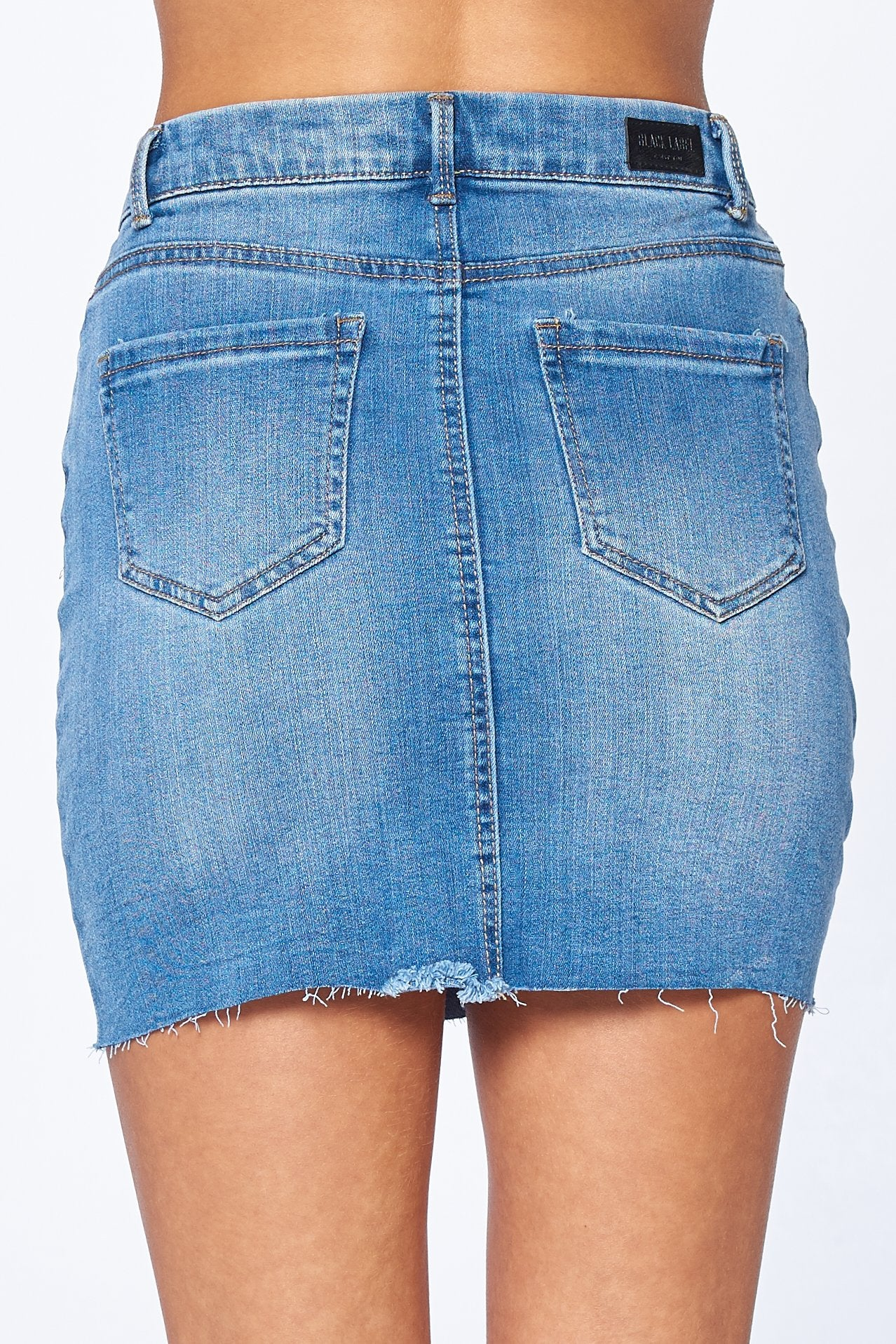 Khanomak Women's High Waist 5 Pocket Classic Raw Cut Hem Denim Mini Skirt
