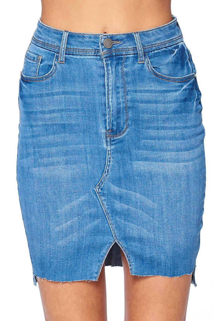Khanomak Women's High Waist 5 Pocket Asymmetrical Raw Cut Hem Denim Mini Skirt