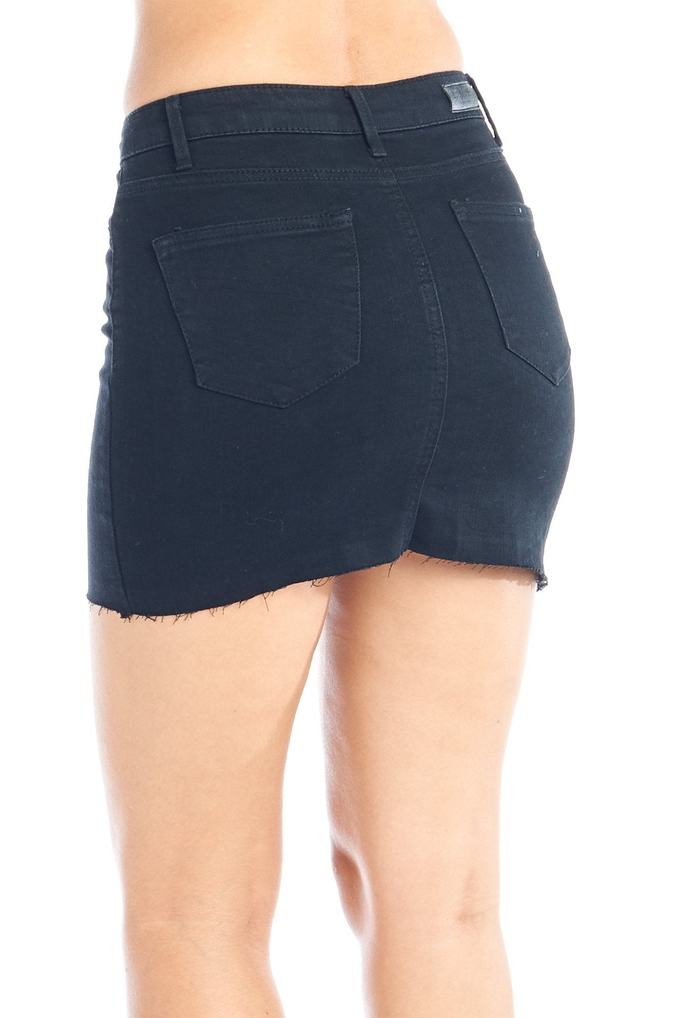 Women's Casual High-Rise Denim Jean Stretch Raw Cut Frayed Hem Studded Front Body Con Mini Skirt