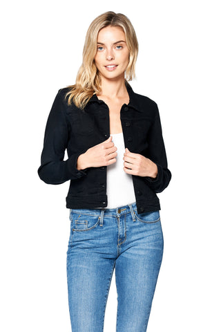 Khanomak Women's Classic Long Sleeve Button Up Denim Jean Jacket