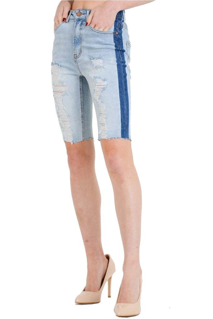 Women's Distress With Contrast Side Stripe Bermuda Denim Shorts