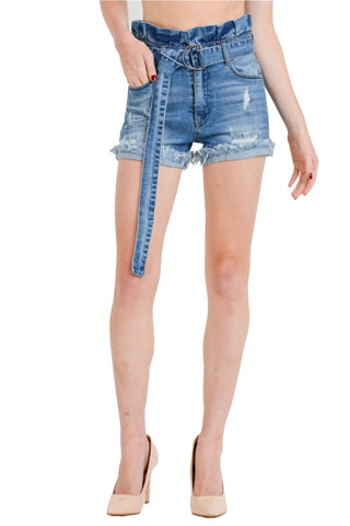 Women's High-Rise Paper Bag Elastic Belted Waist Denim Shorts