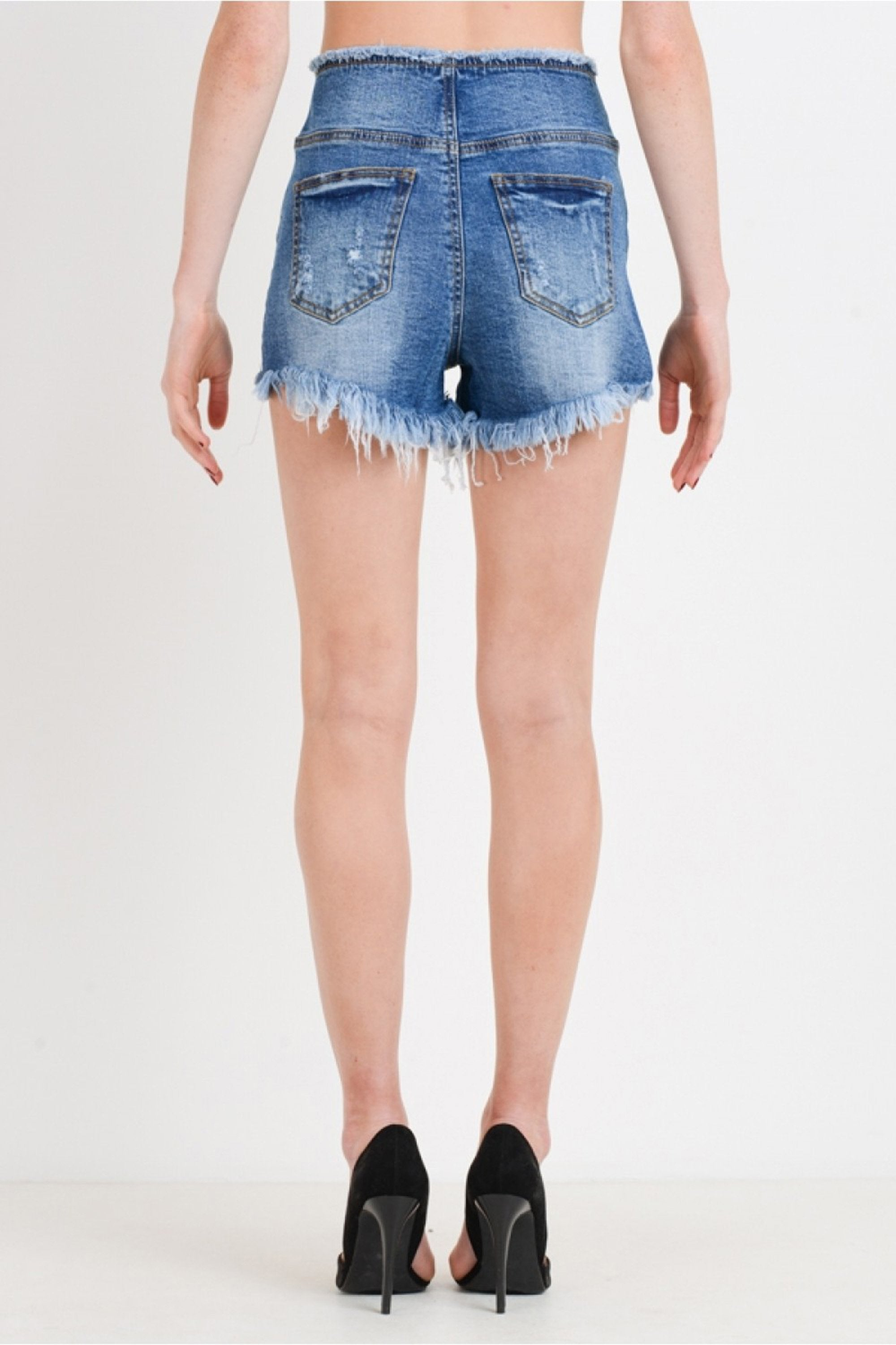 Women's High Rise Stretch Zip Button Front Frayed Hem Denim Shorts