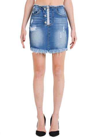 Women's High Rise Zip Button Front Frayed Hem Denim Mini Skirt