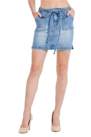 Women's Denim Stretch Basic Casual Self Tie Bodycon Mini Skirt