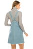 Women's Relaxed Fit Overall Classic Adjustable Strap Mini Denim Dress
