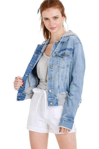 Khanomak Women's Denim Jean With Detachable Hoodie Terry Patch Jacket