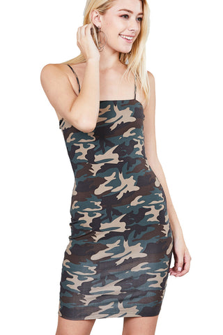 Kanomak Women'S Straight Neck Double Layer Camo Print Cami Mini Dress