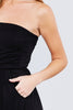 Women Strapless Off Shoulder Tube Top Sleeveless Long Casual Pocket Black Maxi Dress - Small
