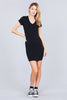 Women Basic Cotton Stretchy V-Neck Short Sleeves Mini Pocket Black Casual Dress - Small