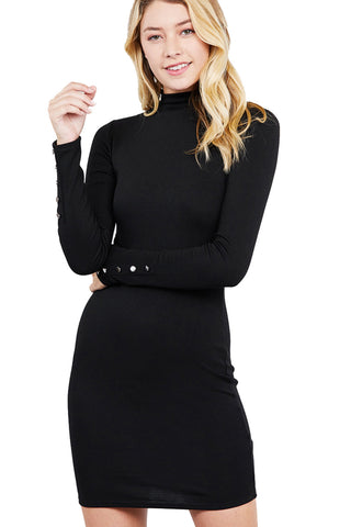Khanomak Women's Long Sleeve Button Detail High Neck Knit Mini Dress
