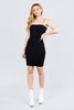 Women's Straight Neck Cami Elastic Strings Heavy Rib Mini Black Bodycon Dress - Small