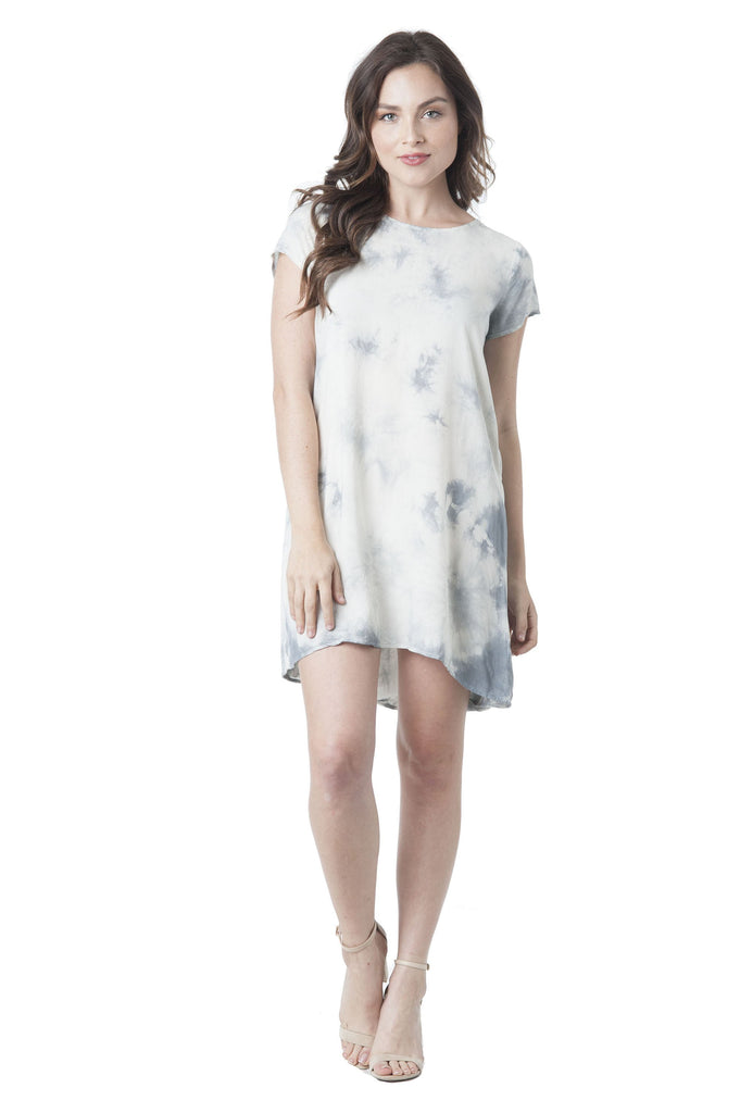 Cap Sleeve Cross Cut-Out Back Chiffon Tie Dye Dress