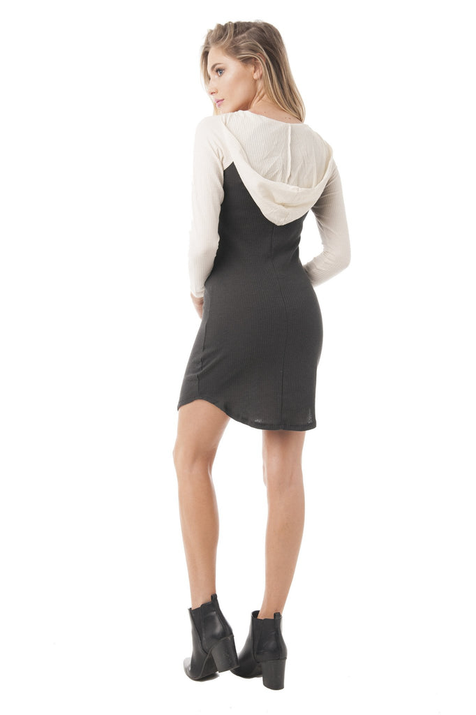 "Long Sleeve Ribbed Hooded Graphic ""You Look Fabulous Always Remember"" Dress"