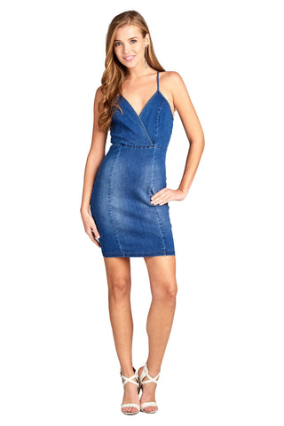 Plunging V Neck Cami Adjustable Spaghetti Straps Cross Back Denim Stretch Con Mini Dress