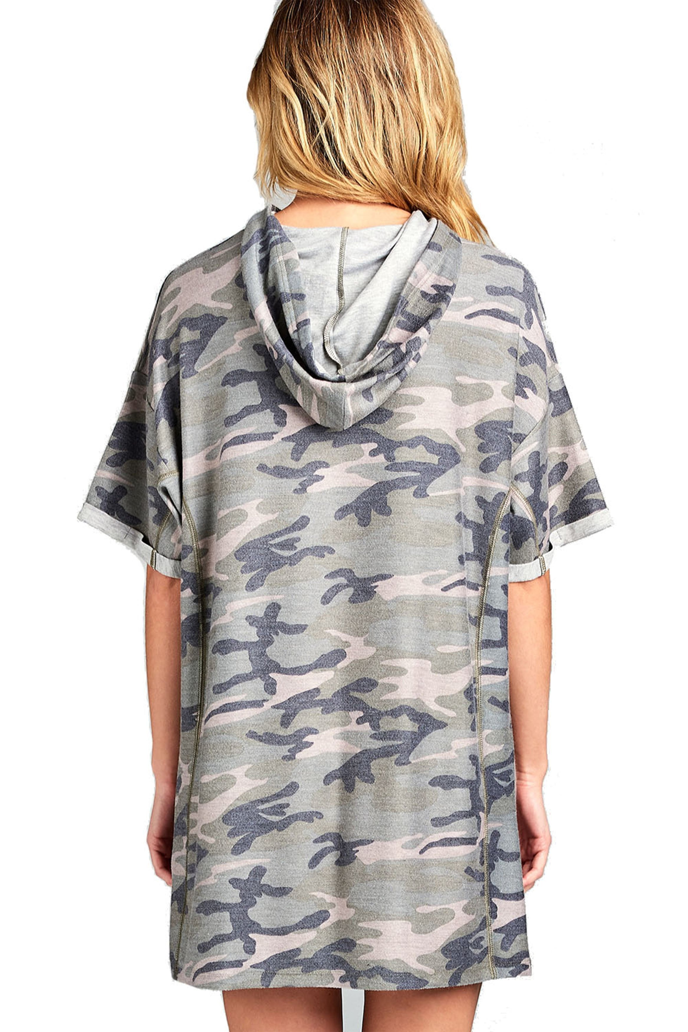 Short Sleeve Hooded Oversized Loose Fit Casual All Over Camo Print T-Shirt Dress