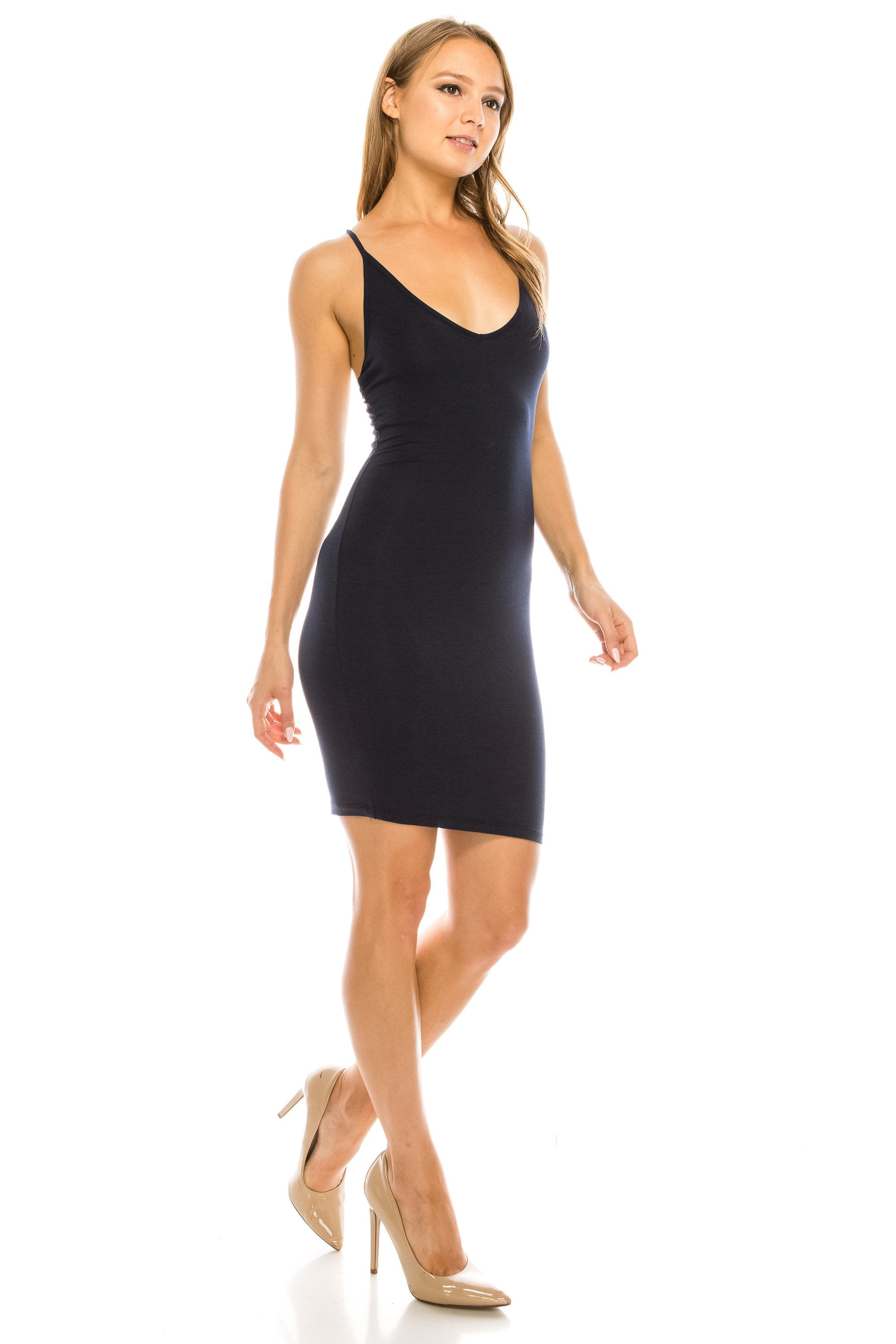 Women's Basic Casual V neck Strappy Bodycon Curve Fitting Dress