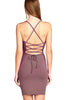 Khanomak Women's Cotton Mini Open Back Lace Up Strapy Dress