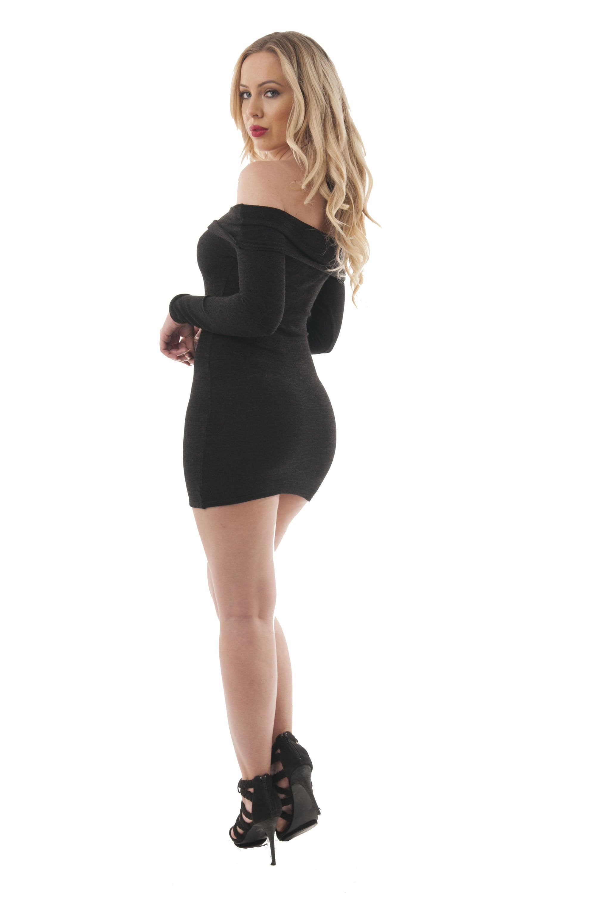 Long Sleeve Off Shoulder Mini Bodycon Dress