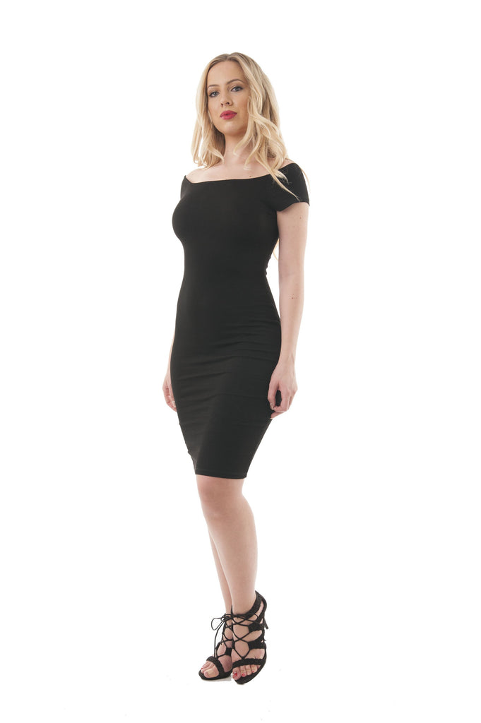 Short Sleeve Ribbed Square Neck-V Back Bodycon Midi Dress