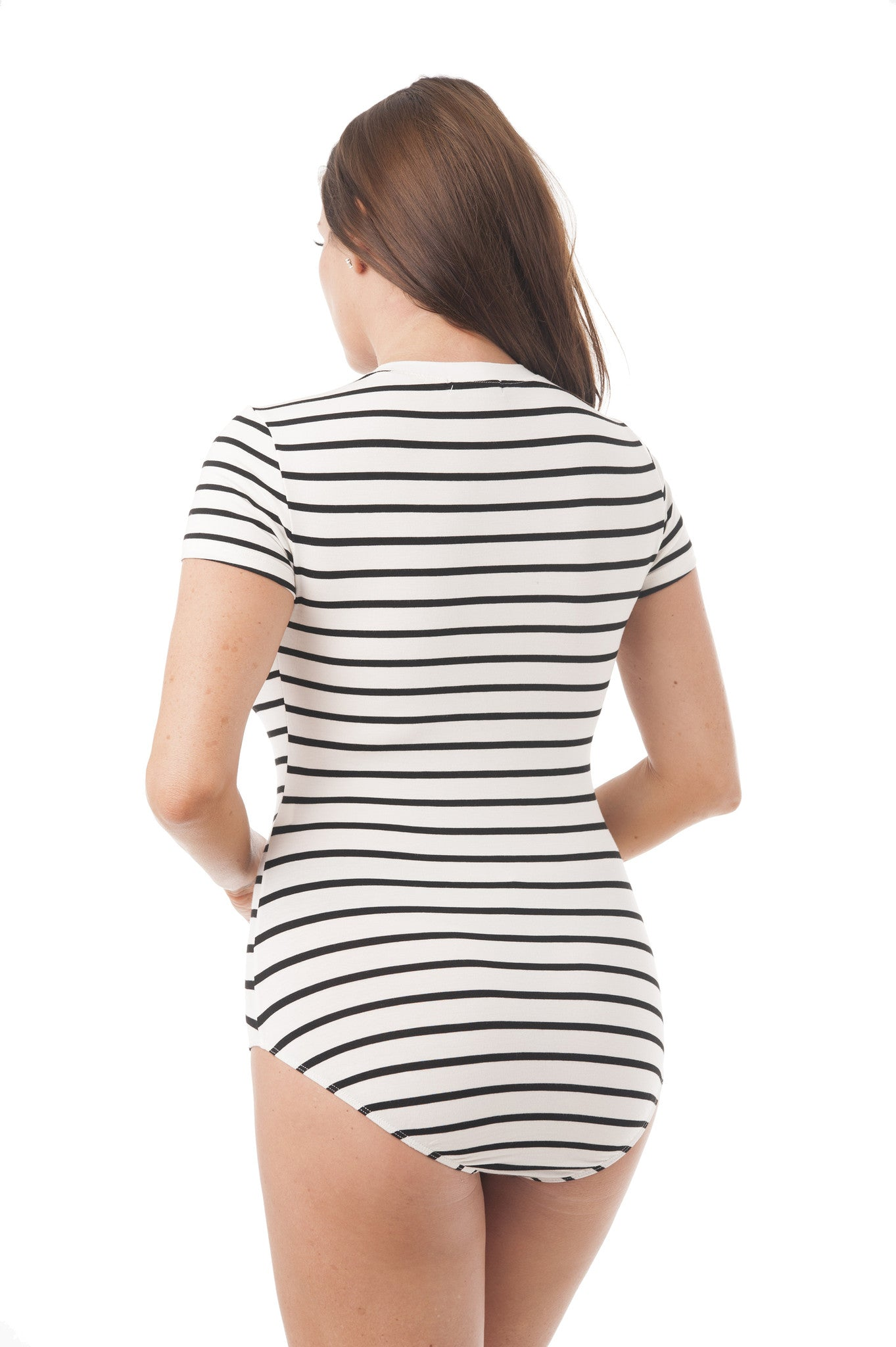 Crew Neck Short Sleeve Striped Bodysuit