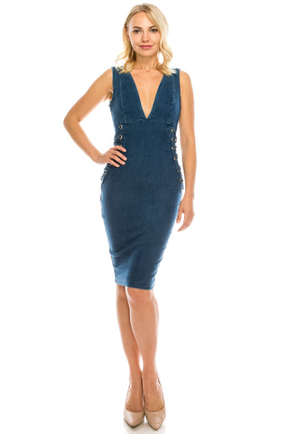 Women's Deep V Neck Sexy Lace up Zipper Bodycon Denim Knee Length Dress