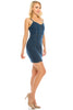 Women's Spaghetti Strap Zip Up Bodycon Denim Jeans Stretch Mini Dress