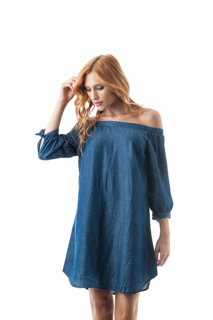 Chambray Off The Shoulder 3/4 Self-Tie Sleeves Mini Dress