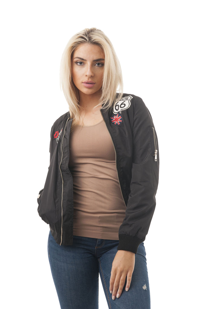 Long Sleeve Bomber Jacket with Patch Trim