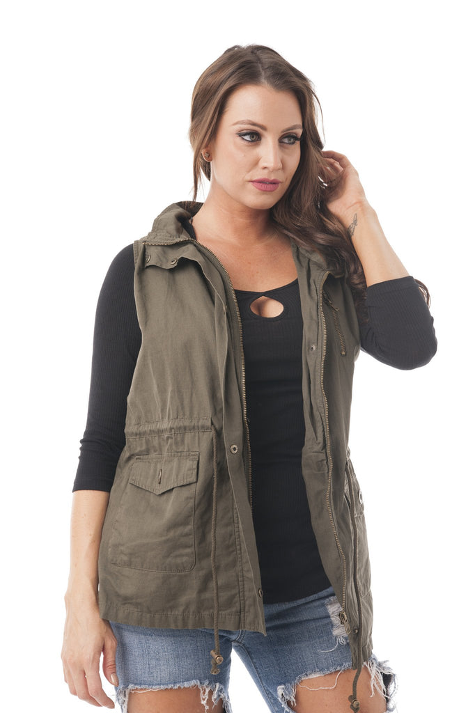 Sleeveless Anorak Vest Hoodie Jacket Plus size