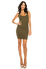 Women's Spaghetti Straps Deep Scoop Neck Sleeveless Bodycon Party Dress
